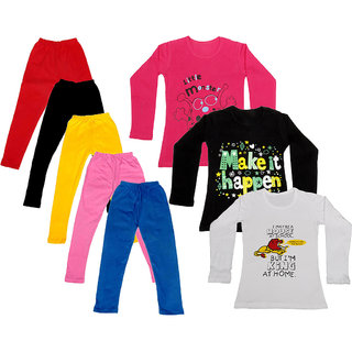 IndiWeaves Girls Cotton Full Sleeves Printed T-Shirt and Cotton Legging (Pack of 8)_Red::Black::Pink::Yellow::Blue::Red::white::Black_Size: 6-7 Year