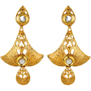 Fabula's Gold & White Kundan Traditional Ethnic Jewellery Filigree Drop Earrings for Women, Girls & Ladies