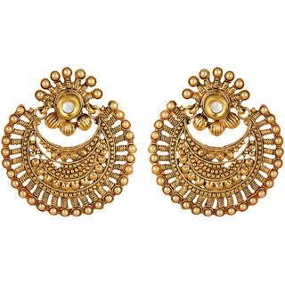 Fabula's Gold & White Kundan & Pearl Traditional Ethnic Jewellery Chandbali Drop Earrings for Women, Girls & Ladies