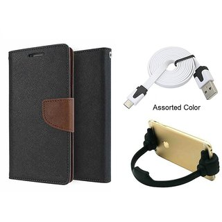 Mercury Wallet Flip case Cover For Sony Xperia M C1905  (Brown) With Micro Usb Flat Cable + Ok mobile Stand