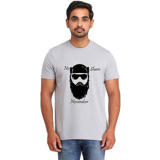 Snoby NO SHAVE NOVEMBER Grey Printed T-shirt