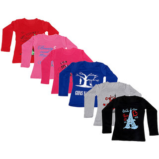 IndiWeaves Girls 6 Cotton Full Sleeves Printed T-Shirt (Pack of 6)_Blue::Grey::Black::Red::Red::Pink_Size: 6-7 Year