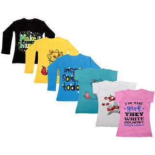 IndiWeaves Girls Cotton Full Sleeves Printed T-Shirt (Pack of 4)_Black::Blue::Yellow::Blue::Grey::Pink_Size: 6-7 Year