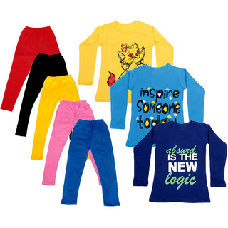 IndiWeaves Girls Cotton Full Sleeves Printed T-Shirt and Cotton Legging (Pack of 8)_Red::Black::Pink::Yellow::Blue::Yellow::Purple::Blue_Size: 6-7 Year
