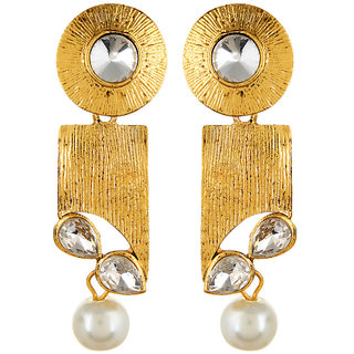 Fabula's Gold & White Kundan & Pearl Traditional Ethnic Jewellery Drop Earrings for Women, Girls & Ladies
