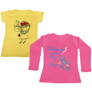 Indistar Girls Cotton 1 Full Sleeves Printed T-Shirt and 1 Half Sleeves T-Shirt (Pack of 2)_Pink::Yellow_Size: 8-9 Year