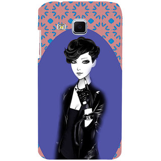 ifasho Girl in Black Jacket Back Case Cover for Samsung Galaxy J3