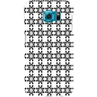 ifasho Animated Pattern design black and white flower in royal style Back Case Cover for Samsung Galaxy S6 Edge Plus