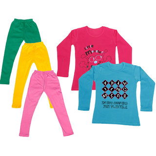 IndiWeaves Girls Cotton Full Sleeves Printed T-Shirt and Cotton Legging (Pack of 5)_Green::Yellow::Pink::Red::Blue_Size: 6-7 Year