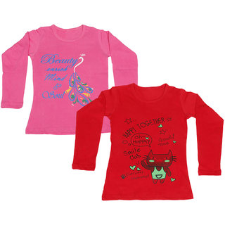 IndiWeaves Girls Cotton Full Sleeve Printed T-Shirt (Pack of 2)_Red::Pink_Size: 6-7 Year