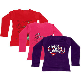 IndiWeaves Girls Cotton 3 Full Sleeves Printed T-Shirt (Pack of 2)_Red::Red::Purple_Size: 8-9 Year