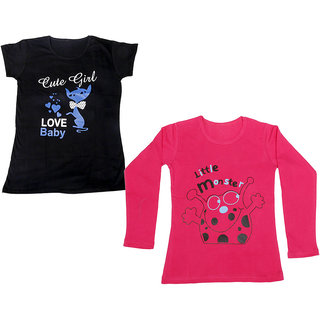 Indistar Girls Cotton 1 Full Sleeves Printed T-Shirt and 1 Half Sleeves T-Shirt (Pack of 2)_Red::Black_Size: 8-9 Year