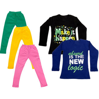 IndiWeaves Girls Cotton Full Sleeves Printed T-Shirt and Cotton Legging (Pack of 5)_Green::Yellow::Pink::Black::Purple_Size: 6-7 Year