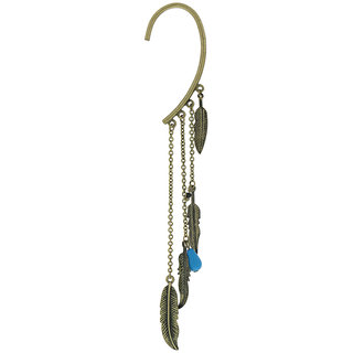 OOMPH's Gold & Blue Feather Charm Ear Cuff Earring for Women, Girls & Ladies (Single Piece)