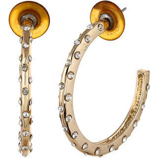 OOMPH's Gold & White Crystal Fashion Jewellery Hoop Bali Drop Earrings for Women, Girls & Ladies