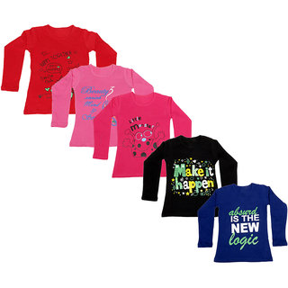IndiWeaves Girls Cotton Full Sleeve Printed T-Shirt (Pack of 5)_Red::Purple::Black::Red::Pink_Size: 6-7 Year