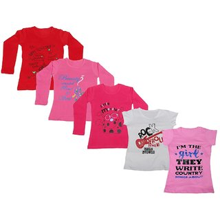IndiWeaves Girls 3 Cotton Full Sleeves and 2 Half Sleeves Printed T-Shirt (Pack of 5)_Red::Red::Pink::White::Pink_Size: 6-7 Year