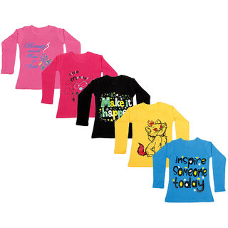 IndiWeaves Girls Cotton Full Sleeve Printed T-Shirt (Pack of 5)_Pink::Blue::Yellow::Black::Red_Size: 6-7 Year