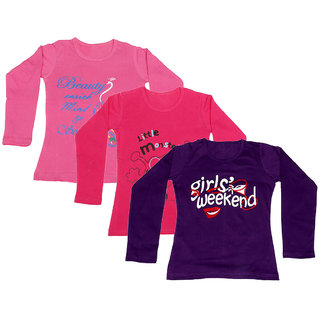 IndiWeaves Girls Cotton 3 Full Sleeves Printed T-Shirt (Pack of 2)_Pink::Red::Purple_Size: 8-9 Year