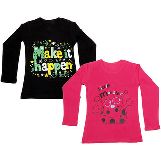 IndiWeaves Girls Cotton Full Sleeve Printed T-Shirt (Pack of 2)_Red::Black_Size: 6-7 Year