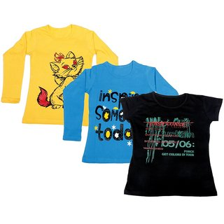 IndiWeaves Girls 2 Cotton Full Sleeves and 1 Half Sleeves Printed T-Shirt (Pack of 3)_Yellow::Blue::Black_Size: 6-7 Year