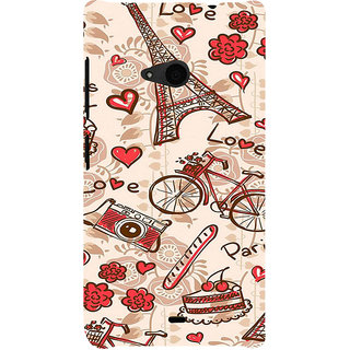 ifasho Modern Art Design Pattern Bicycle camera cake tower Back Case Cover for Nokia Lumia 535