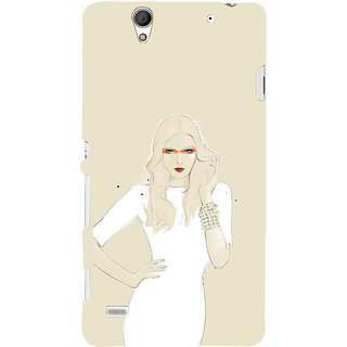 ifasho modern Girl in white dress painting Back Case Cover for Sony Xperia C4