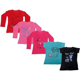 IndiWeaves Girls 3 Cotton Full Sleeves and 2 Half Sleeves Printed T-Shirt (Pack of 5)_Red::Red::Pink::Blue::Black_Size: 6-7 Year