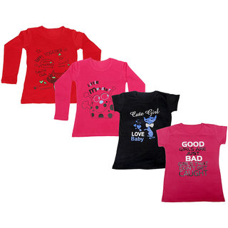 IndiWeaves Girls 2 Cotton Full Sleeves and 2 Half Sleeves Printed T-Shirt (Pack of 4)_Red::Red::Black::Pink_Size: 6-7 Year
