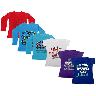 Indistar Girls 3 Cotton Full Sleeves and 3 Half Sleeves Printed T-Shirt (Pack of 6)_Red::Blue::Blue::Grey::Purple::Blue_Size: 6-7 Year
