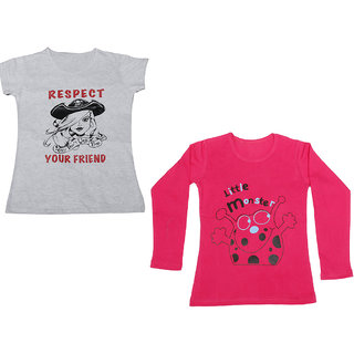 Indistar Girls Cotton 1 Full Sleeves Printed T-Shirt and 1 Half Sleeves T-Shirt (Pack of 2)_Red::White_Size: 8-9 Year