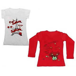 IndiWeaves Girls Cotton 1 Full Sleeves Printed T-Shirt and 1 Half Sleeves T-Shirt (Pack of 2)_Red::Grey_Size: 8-9 Year