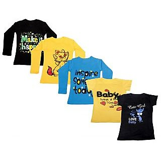 IndiWeaves Girls 3 Cotton Full Sleeves and 2 Half Sleeves Printed T-Shirt (Pack of 5)_Black::Blue::Yellow::Yellow::Black _Size: 6-7 Year