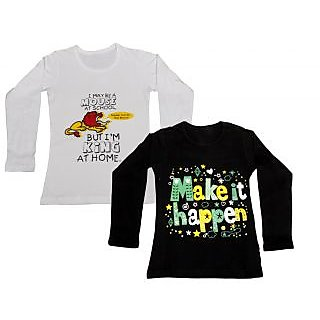 IndiWeaves Girls Cotton Full Sleeve Printed T-Shirt (Pack of 2)_Black::white_Size: 6-7 Year