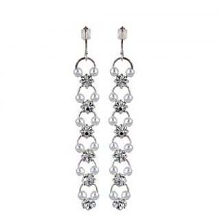 OOMPH's Silver & White Crystal & Pearl Fashion Jewellery Drop Earrings for Women, Girls & Ladies