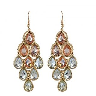 OOMPH's Gold Crystal Chandelier Fashion Jewellery Drop Earrings for Women, Girls & Ladies