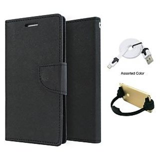 Mercury Wallet Flip case Cover For Micromax Canvas Knight 2 E471  (BLACK) With Micro Usb Flat Cable + Ok mobile Stand