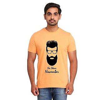 Snoby NO SHAVE NOVEMBER Orange Printed T-shirt