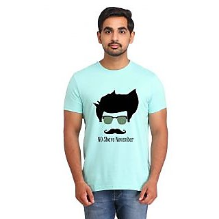 Snoby NO SHAVE NOVEMBER Cyan Printed T-shirt