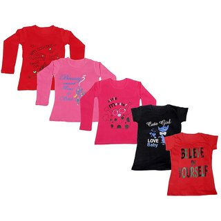IndiWeaves Girls 3 Cotton Full Sleeves and 2 Half Sleeves Printed T-Shirt (Pack of 5)_Red::Red::Pink::Black::Red_Size: 6-7 Year