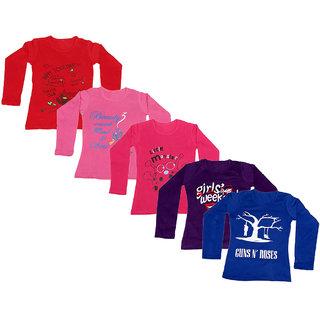 IndiWeaves Girls 5 Cotton Full Sleeves Printed T-Shirt (Pack of 5)