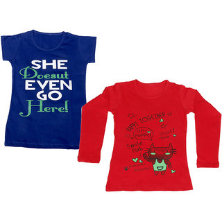 IndiWeaves Girls Cotton 1 Full Sleeves Printed T-Shirt and 1 Half Sleeves T-Shirt (Pack of 2)_Red::Blue_Size: 8-9 Year