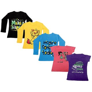 IndiWeaves Girls 3 Cotton Full Sleeves and 2 Half Sleeves Printed T-Shirt (Pack of 5)_Black::Blue::Yellow::Pink::Purple_Size: 6-7 Year