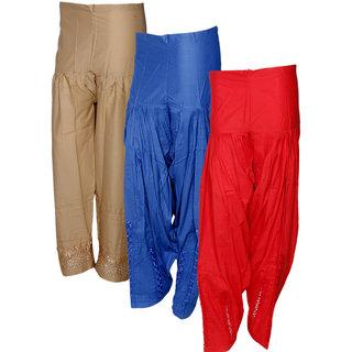 IndiWeaves Women's Premium Cotton 1  Chaudi Lace Semi-Patiala Salwar and 2 Dabang Jalidar Full Patiala Salwar (Pack of 3)