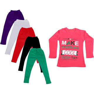 IndiWeaves Girls Cotton Full Sleeves Printed T-Shirt and Cotton Legging (Pack of 6)_Purple::White::Black::Red::Green::Red_Size: 6-7 Year