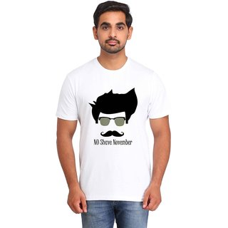 Snoby NO SHAVE NOVEMBER white Printed T-shirt
