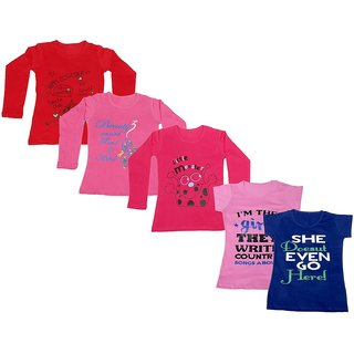 IndiWeaves Girls 3 Cotton Full Sleeves and 2 Half Sleeves Printed T-Shirt (Pack of 5)_Red::Red::Pink::Pink::Blue_Size: 6-7 Year