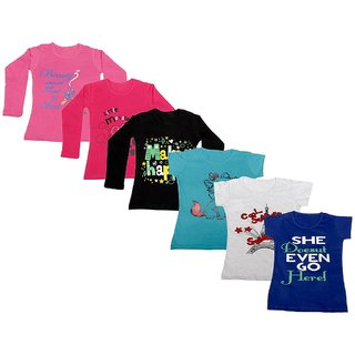 Indistar Girls Cotton Full Sleeves Printed T-Shirt (Pack of 4)_Pink::Black::Red::Blue::Grey::Blue_Size: 6-7 Year