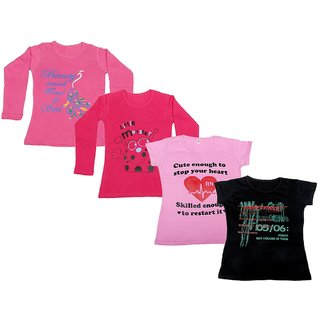 IndiWeaves Girls 2 Cotton Full Sleeves and 2 Half Sleeves Printed T-Shirt (Pack of 4)_Pink::Red::Pink::Black_Size: 6-7 Year