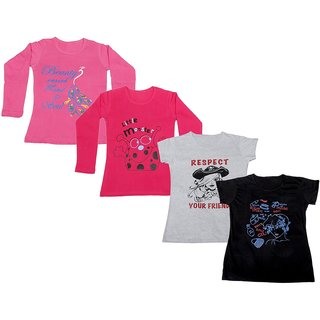 IndiWeaves Girls 2 Cotton Full Sleeves and 2 Half Sleeves Printed T-Shirt (Pack of 4)_Pink::Red::White::Black_Size: 6-7 Year
